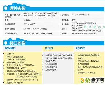 HG8311硬件接口参数、产品功能介绍