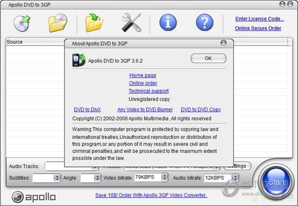 创新Apollo DVD to 3GP视频格式媒体转换 v3.6.2.0官方版